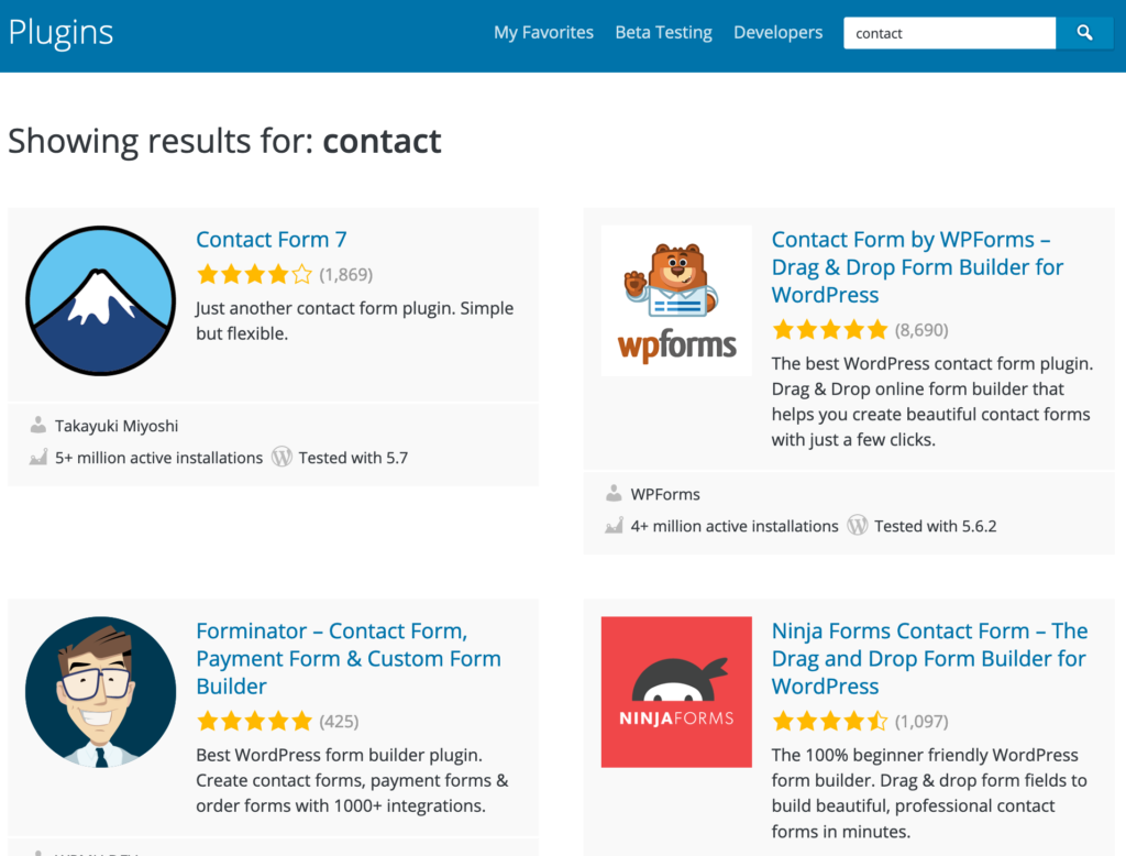 """Example search results for """"contact"""" keyword search in WordPress plugins."""