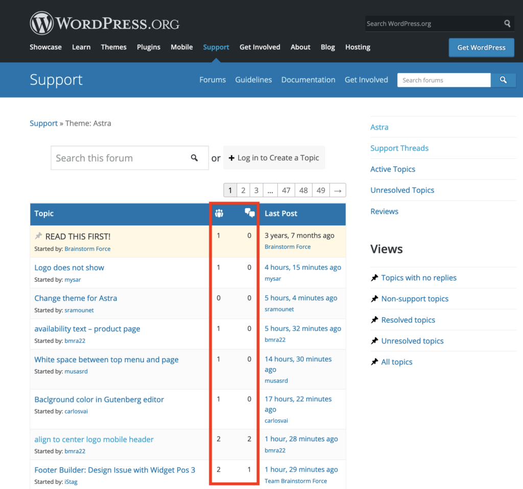 Image outlining the WordPress support forum for the Astra theme.